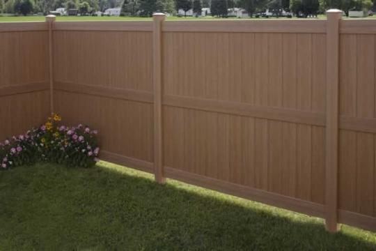 Vinyl Fence Galveston Sierra Blend Certagrain