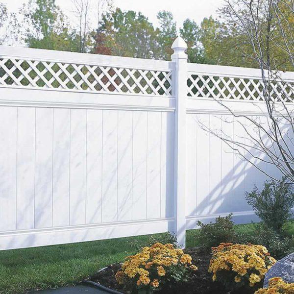 Lattice Top Vinyl Fence White