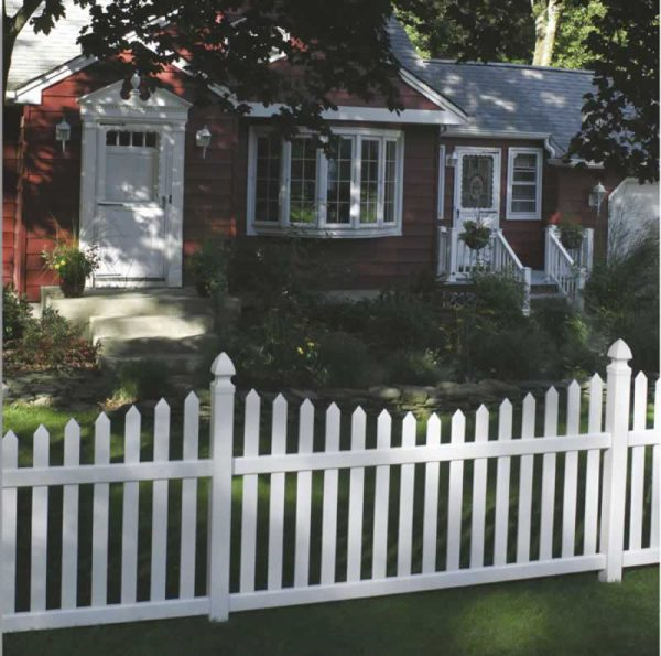 Curved White Fencing for Front Yard