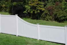 White Vinyl Fence Lexington with Swoop
