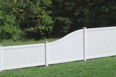 White Vinyl Fence Lexington with Curve