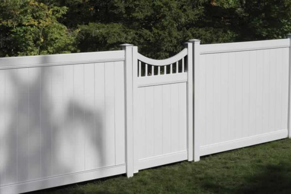 Concave Vinyl Fence Gate White
